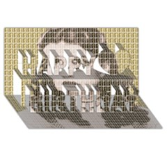 Over The Rainbow   Gold Happy Birthday 3d Greeting Card (8x4)