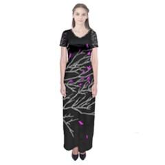 Bird Leaves Short Sleeve Maxi Dress