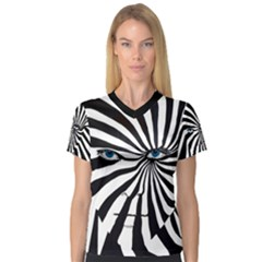 Zebra Eyes Women s V Neck Sport Mesh Tee by DryInk
