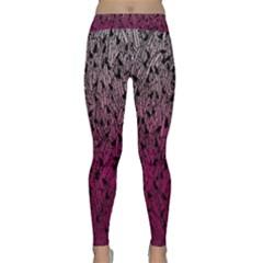 Pink Ombre Feather Pattern, Black, Yoga Leggings by Zandiepants