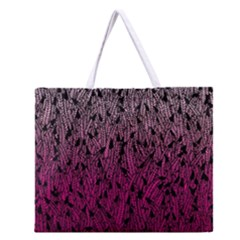Pink Ombre Feather Pattern, Black, Zipper Large Tote Bag by Zandiepants