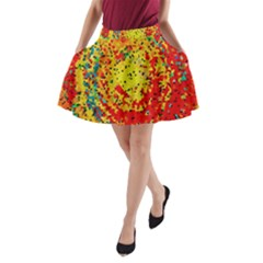 Downtown In Red22 A Line Pocket Skirt by BIBILOVER