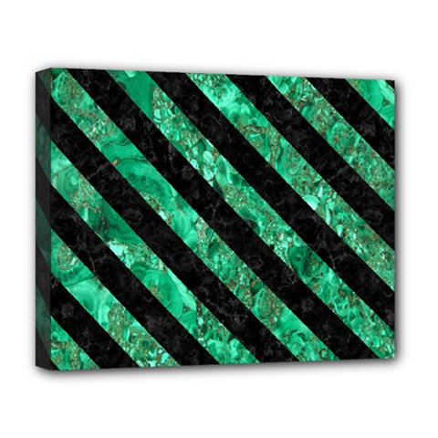 Stripes3 Black Marble & Green Marble (r) Deluxe Canvas 20  X 16  (stretched) by trendistuff