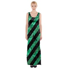 Stripes3 Black Marble & Green Marble Maxi Thigh Split Dress by trendistuff