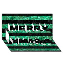 Stripes2 Black Marble & Green Marble Merry Xmas 3d Greeting Card (8x4)