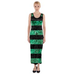 Stripes2 Black Marble & Green Marble Fitted Maxi Dress by trendistuff