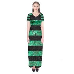 Stripes2 Black Marble & Green Marble Short Sleeve Maxi Dress