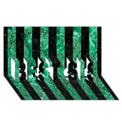 Stripes1 Black Marble & Green Marble Best Sis 3d Greeting Card (8x4)