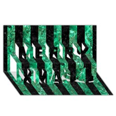 Stripes1 Black Marble & Green Marble Merry Xmas 3d Greeting Card (8x4)