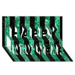 Stripes1 Black Marble & Green Marble Happy New Year 3d Greeting Card (8x4)
