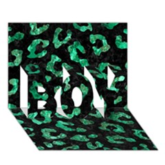 Skin5 Black Marble & Green Marble (r) Boy 3d Greeting Card (7x5)