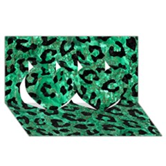 Skin5 Black Marble & Green Marble Twin Hearts 3d Greeting Card (8x4)