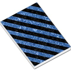 Stripes3 Black Marble & Blue Marble (r) Large Memo Pads