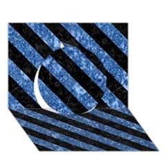 Stripes3 Black Marble & Blue Marble (r) Circle 3d Greeting Card (7x5)