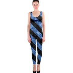 Stripes3 Black Marble & Blue Marble (r) Onepiece Catsuit by trendistuff