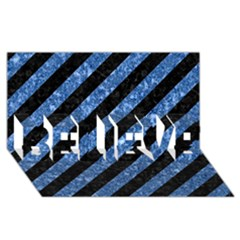 Stripes3 Black Marble & Blue Marble Believe 3d Greeting Card (8x4)