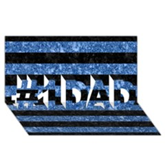 Stripes2 Black Marble & Blue Marble #1 Dad 3d Greeting Card (8x4)