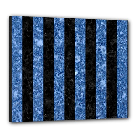 Stripes1 Black Marble & Blue Marble Canvas 24  X 20  (stretched) by trendistuff