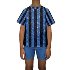 STR1 BK-BL MARBLE Kid s Short Sleeve Swimwear by trendistuff