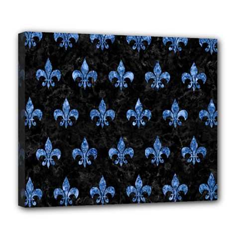 Royal1 Black Marble & Blue Marble (r) Deluxe Canvas 24  X 20  (stretched) by trendistuff
