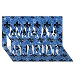 Royal1 Black Marble & Blue Marble Congrats Graduate 3d Greeting Card (8x4)
