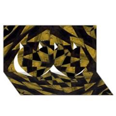 Bold Geometric Twin Hearts 3d Greeting Card (8x4)  by dflcprints