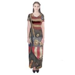 Al220712001 Short Sleeve Maxi Dress by TresFolia