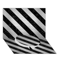 Stripes3 Black Marble & Silver Brushed Metal (r) Circle Bottom 3d Greeting Card (7x5)