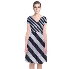 Stripes3 Black Marble & Silver Brushed Metal (r) Short Sleeve Front Wrap Dress