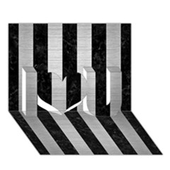 Stripes1 Black Marble & Silver Brushed Metal I Love You 3d Greeting Card (7x5)