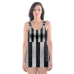 Stripes1 Black Marble & Silver Brushed Metal Skater Dress Swimsuit