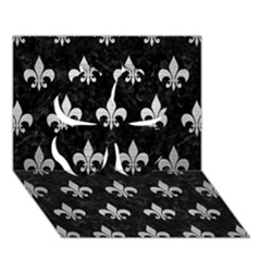 Royal1 Black Marble & Silver Brushed Metal (r) Clover 3d Greeting Card (7x5)