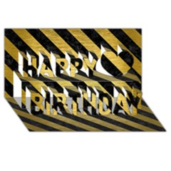 Stripes3 Black Marble & Gold Brushed Metal (r) Happy Birthday 3d Greeting Card (8x4)
