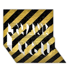 Stripes3 Black Marble & Gold Brushed Metal Thank You 3d Greeting Card (7x5)