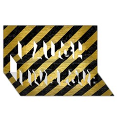 Stripes3 Black Marble & Gold Brushed Metal Laugh Live Love 3d Greeting Card (8x4)