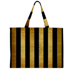 Stripes1 Black Marble & Gold Brushed Metal Zipper Mini Tote Bag by trendistuff