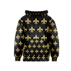 Royal1 Black Marble & Gold Brushed Metal (r) Kids  Pullover Hoodie