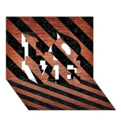 Stripes3 Black Marble & Copper Brushed Metal (r) Love 3d Greeting Card (7x5)