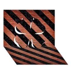 Stripes3 Black Marble & Copper Brushed Metal (r) Clover 3d Greeting Card (7x5) by trendistuff
