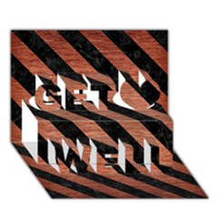 Stripes3 Black Marble & Copper Brushed Metal (r) Get Well 3d Greeting Card (7x5)