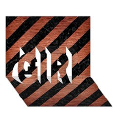 Stripes3 Black Marble & Copper Brushed Metal Girl 3d Greeting Card (7x5)