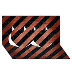 Stripes3 Black Marble & Copper Brushed Metal Twin Hearts 3d Greeting Card (8x4) by trendistuff