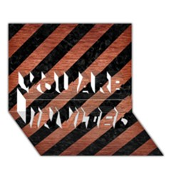 Stripes3 Black Marble & Copper Brushed Metal You Are Invited 3d Greeting Card (7x5) by trendistuff