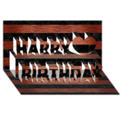 Stripes2 Black Marble & Copper Brushed Metal Happy Birthday 3d Greeting Card (8x4)