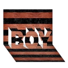 Stripes2 Black Marble & Copper Brushed Metal Boy 3d Greeting Card (7x5)
