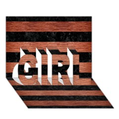 Stripes2 Black Marble & Copper Brushed Metal Girl 3d Greeting Card (7x5) by trendistuff