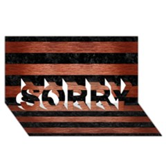 Stripes2 Black Marble & Copper Brushed Metal Sorry 3d Greeting Card (8x4)