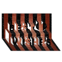Stripes1 Black Marble & Copper Brushed Metal Best Wish 3d Greeting Card (8x4)