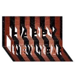Stripes1 Black Marble & Copper Brushed Metal Happy New Year 3d Greeting Card (8x4) by trendistuff