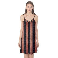 Stripes1 Black Marble & Copper Brushed Metal Camis Nightgown